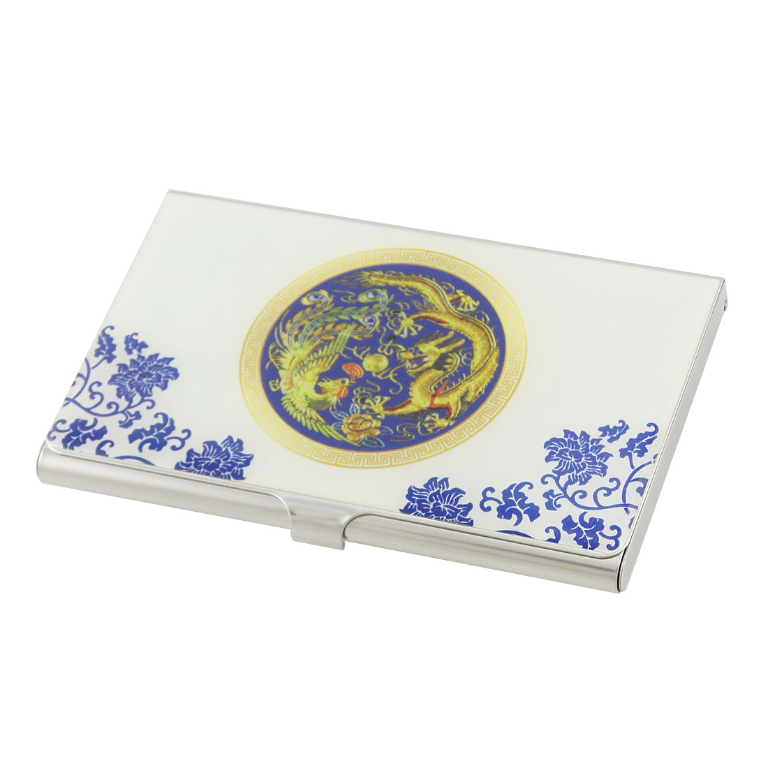 Plate Centering Blue Floral Pattern Stainless Steel Credit Name Card Holder Box
