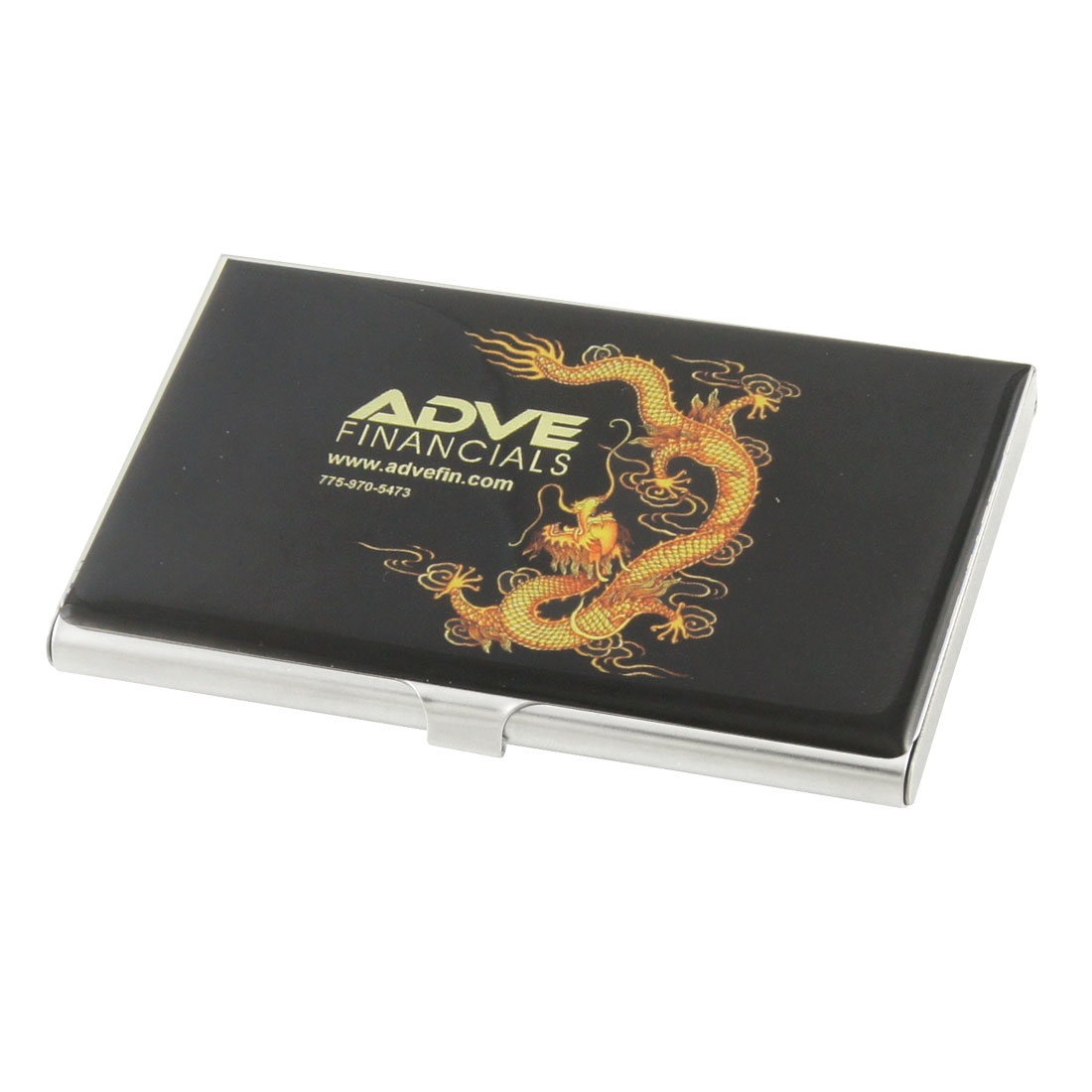 Black Background Dragon Printing Stainless Steel Credit Name ID Card Holder Box