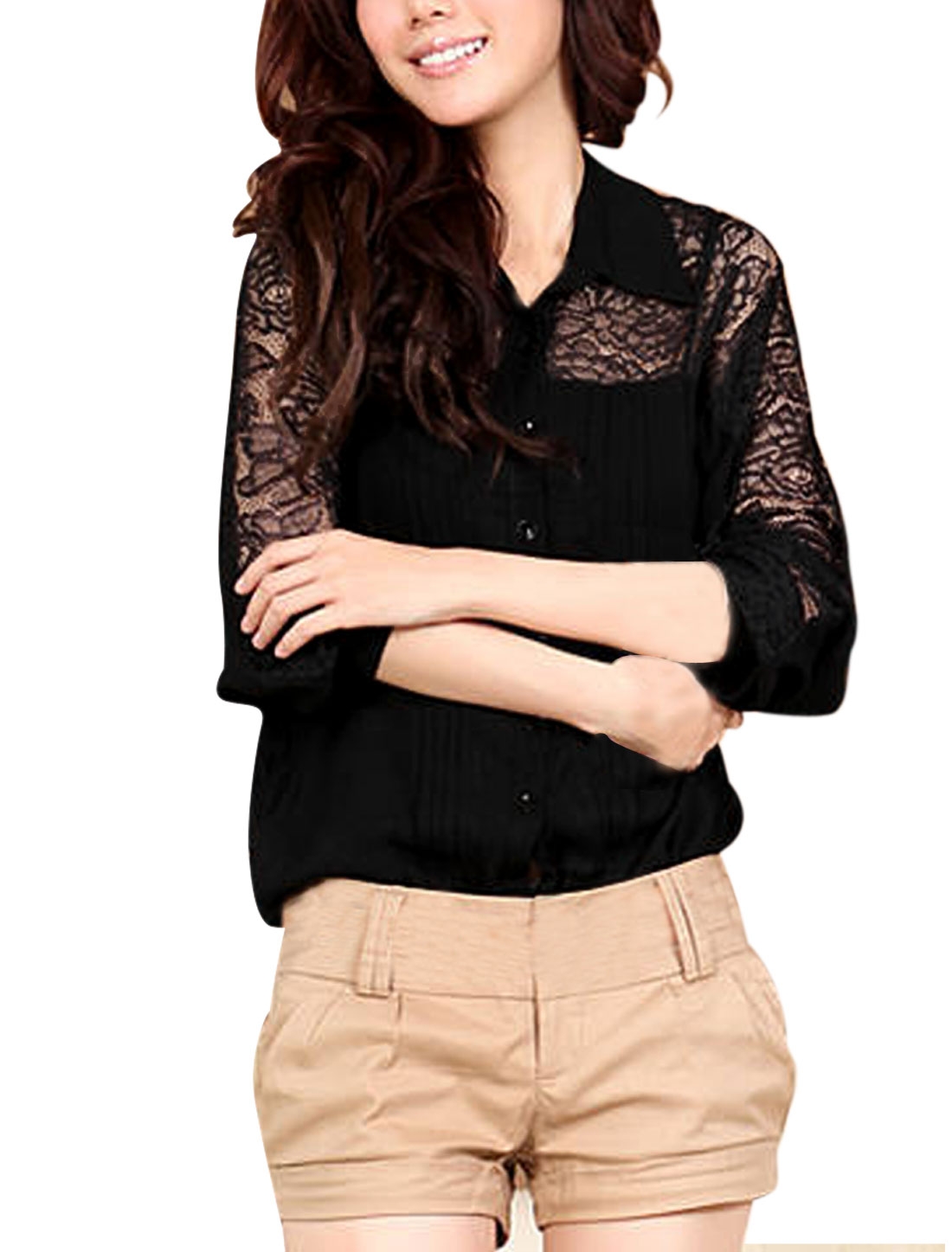 Women Point Collar Sheer Embroidered Lace Panel Chiffon Shirt Black S