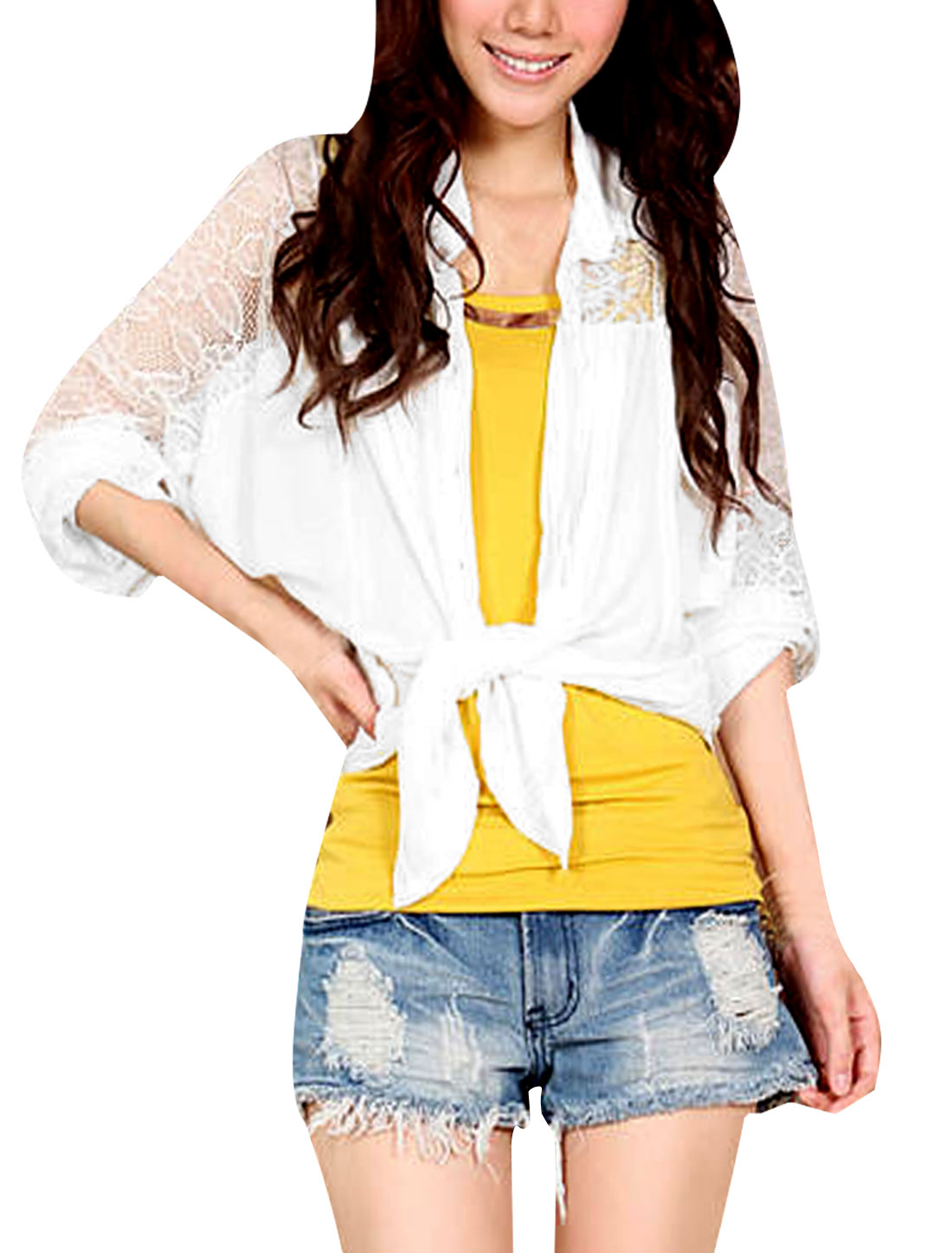 Women Point Collar Sheer Embroidered Lace Panel Chiffon Shirt White S