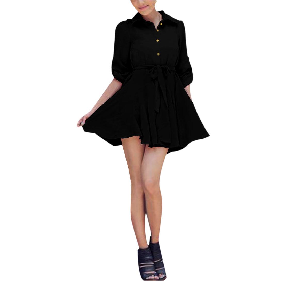 Ladies Puff Long Sleeve Point Collar Black Semi Sheer Chiffon Dress XS