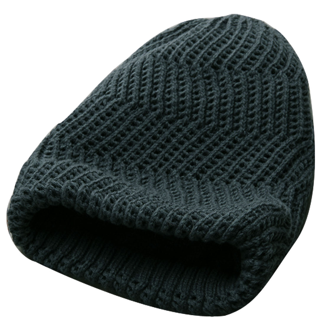 Men Dark Gray NEW Reversible Design Soft Knitted Beanie Cap