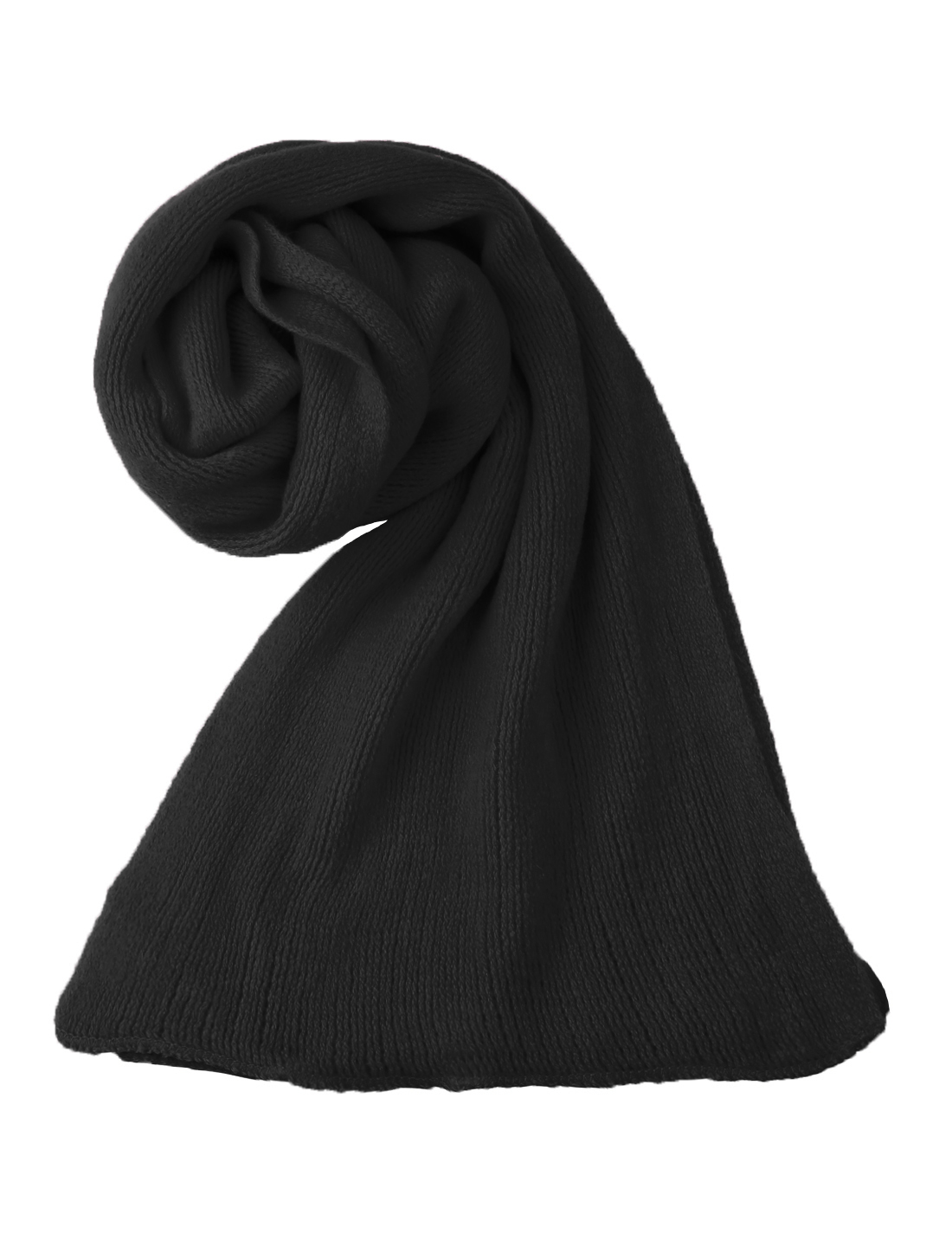 Unisex Black Rectangle Shape Solid Color Winter Warm Scarf Scarves