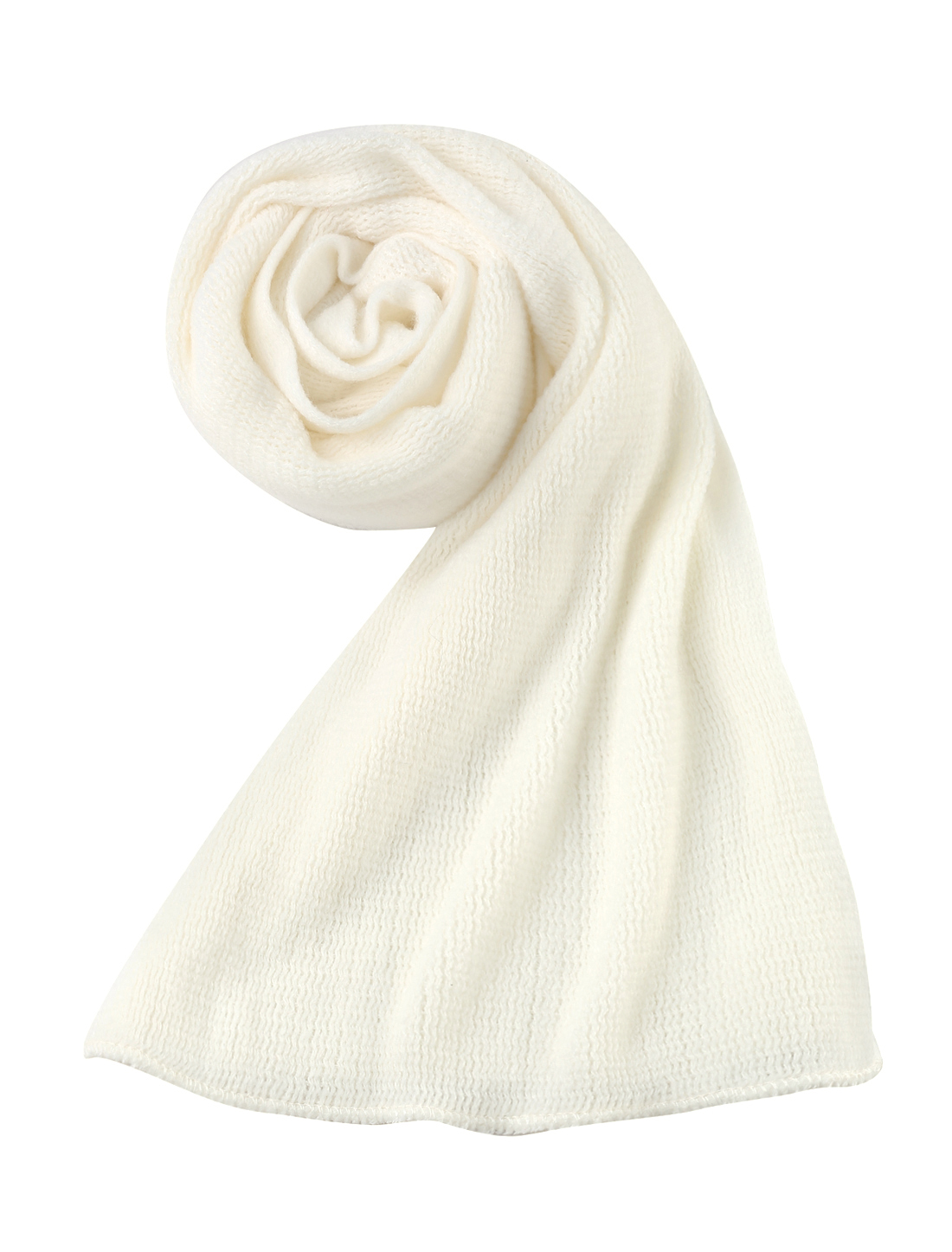 Unisex White Fashion Solid Color Simple Style Warm 208cm x30cm Neckerchief