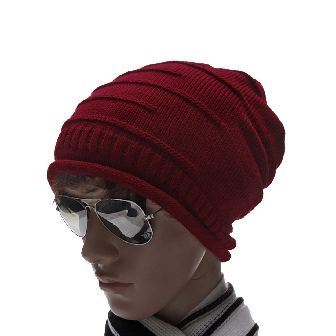 Mens Burgundy Texture Design Solid Color Stretch Warm Beanie Hat