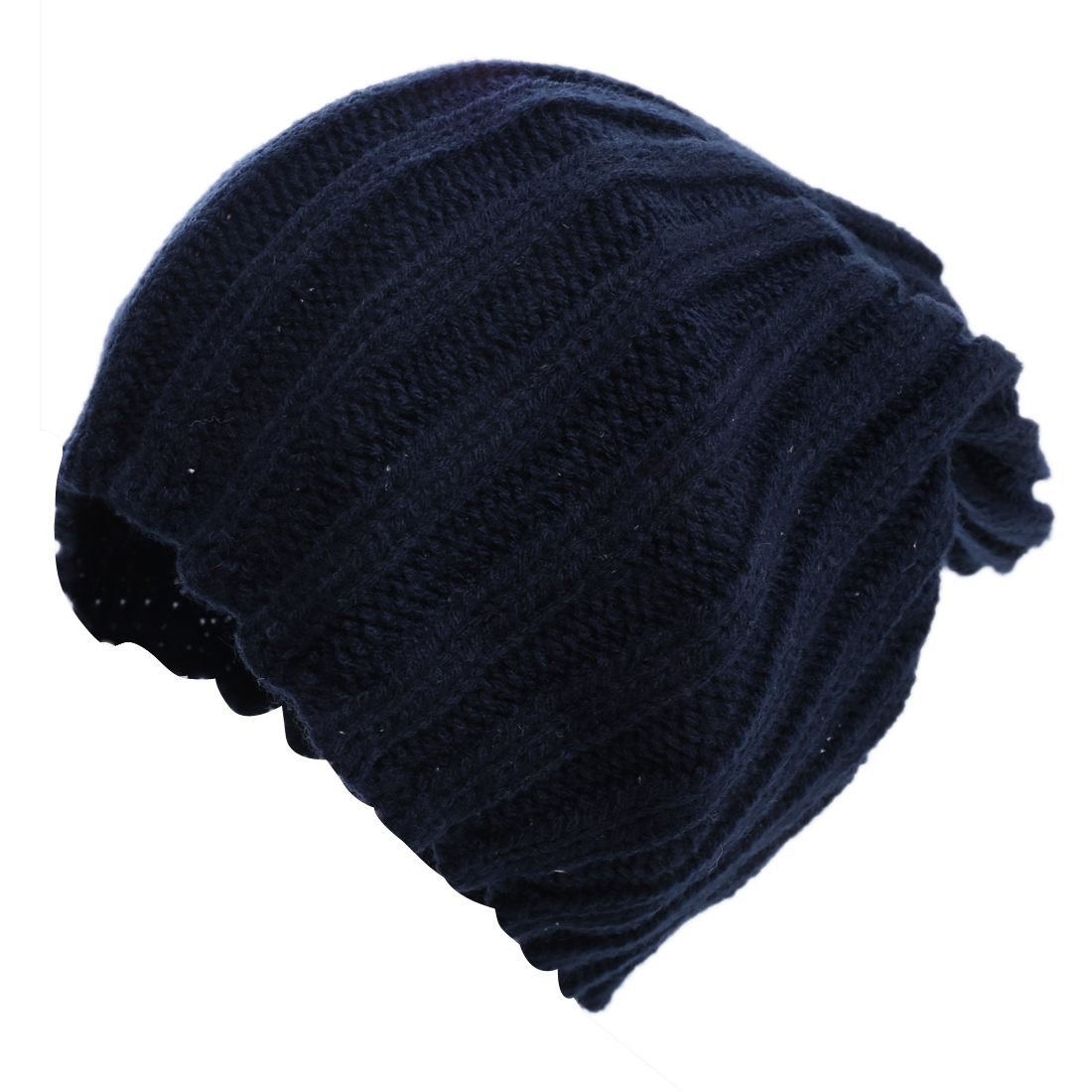 Unisex Dark Blue Stylish Textured Solid Color Stretch Warm Winter Beanie Hat