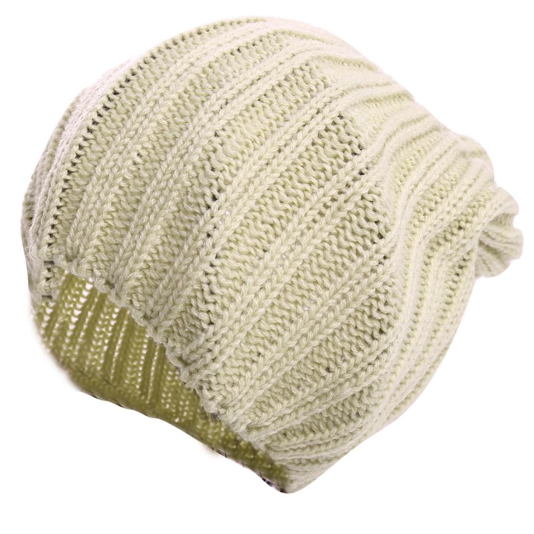 Unisex Beige Fashion Solid Color Textured Design Warm Knitting Beanie Cap