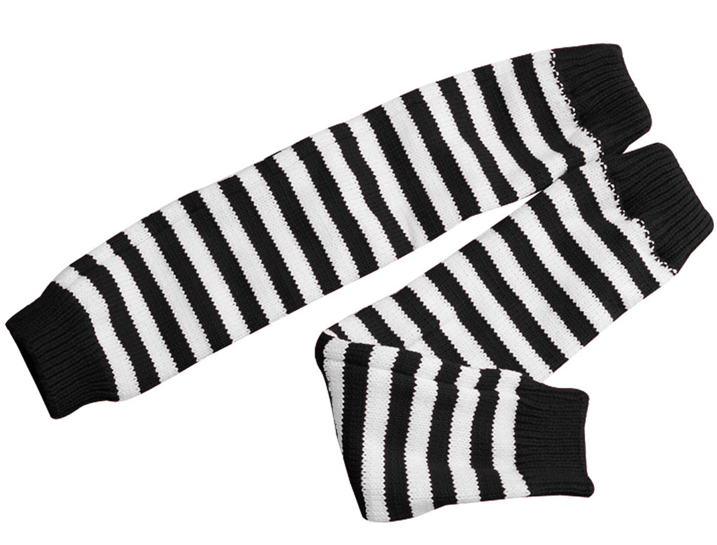 Men Balck White Stripes Fingerless Winter Stretch Long Gloves
