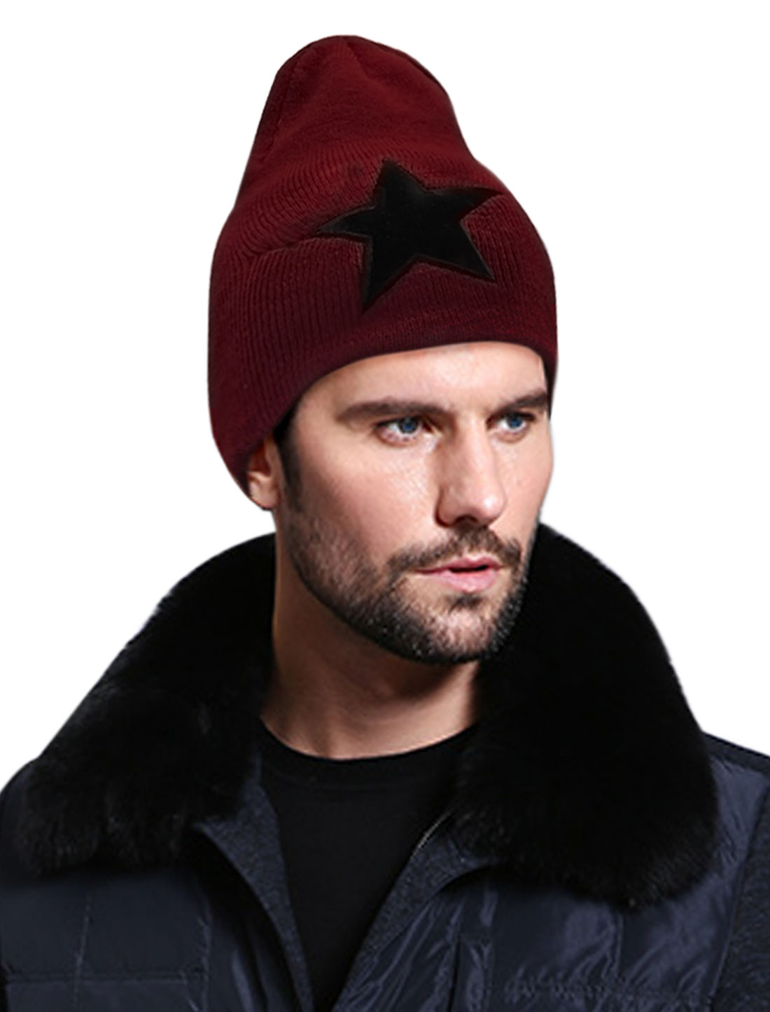 Mens Burgundy Star Pattern Knitting Thick Stretch Beanie Hat