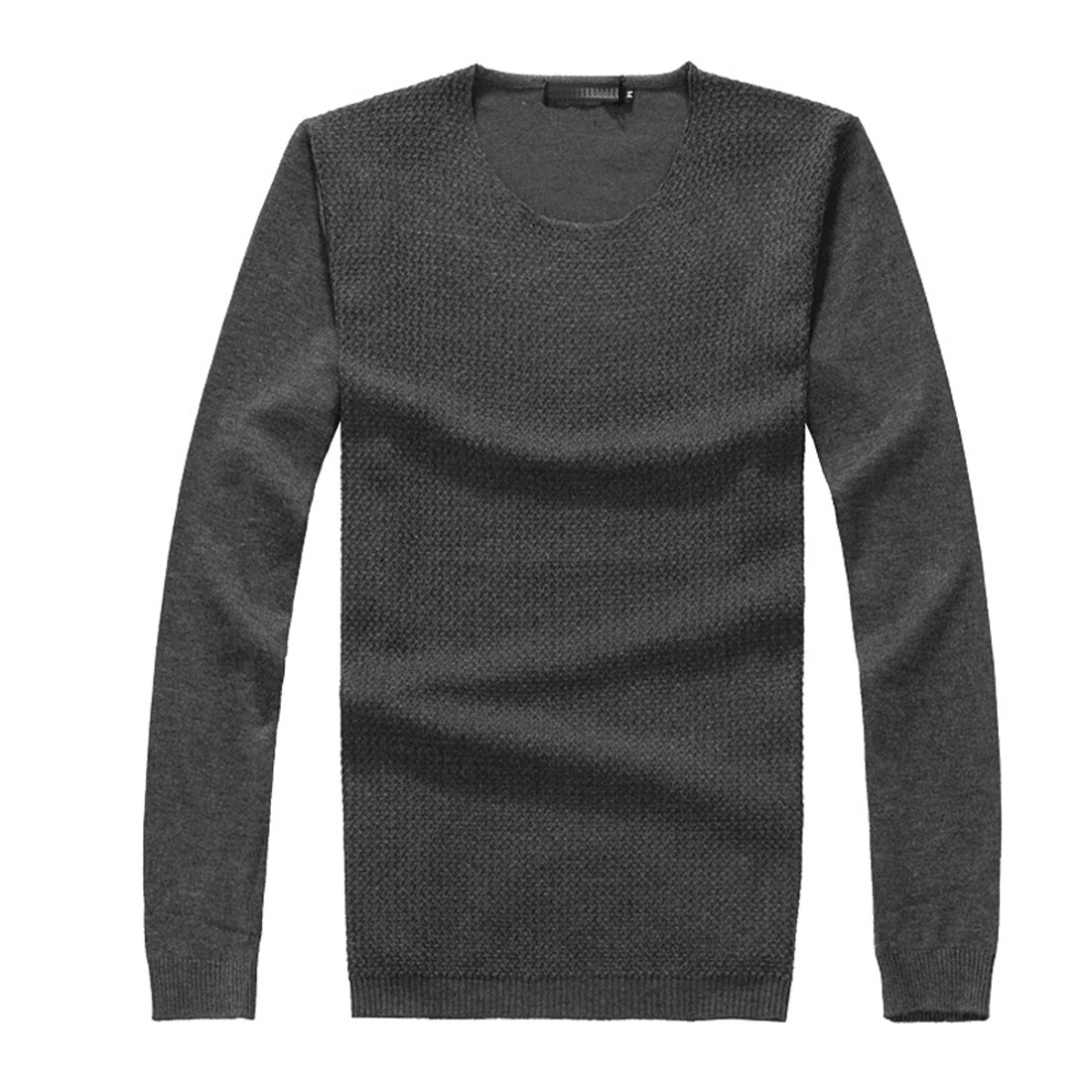 Mens Dark Gray Round Neck Long Sleeves Knit Pullover Shirt S