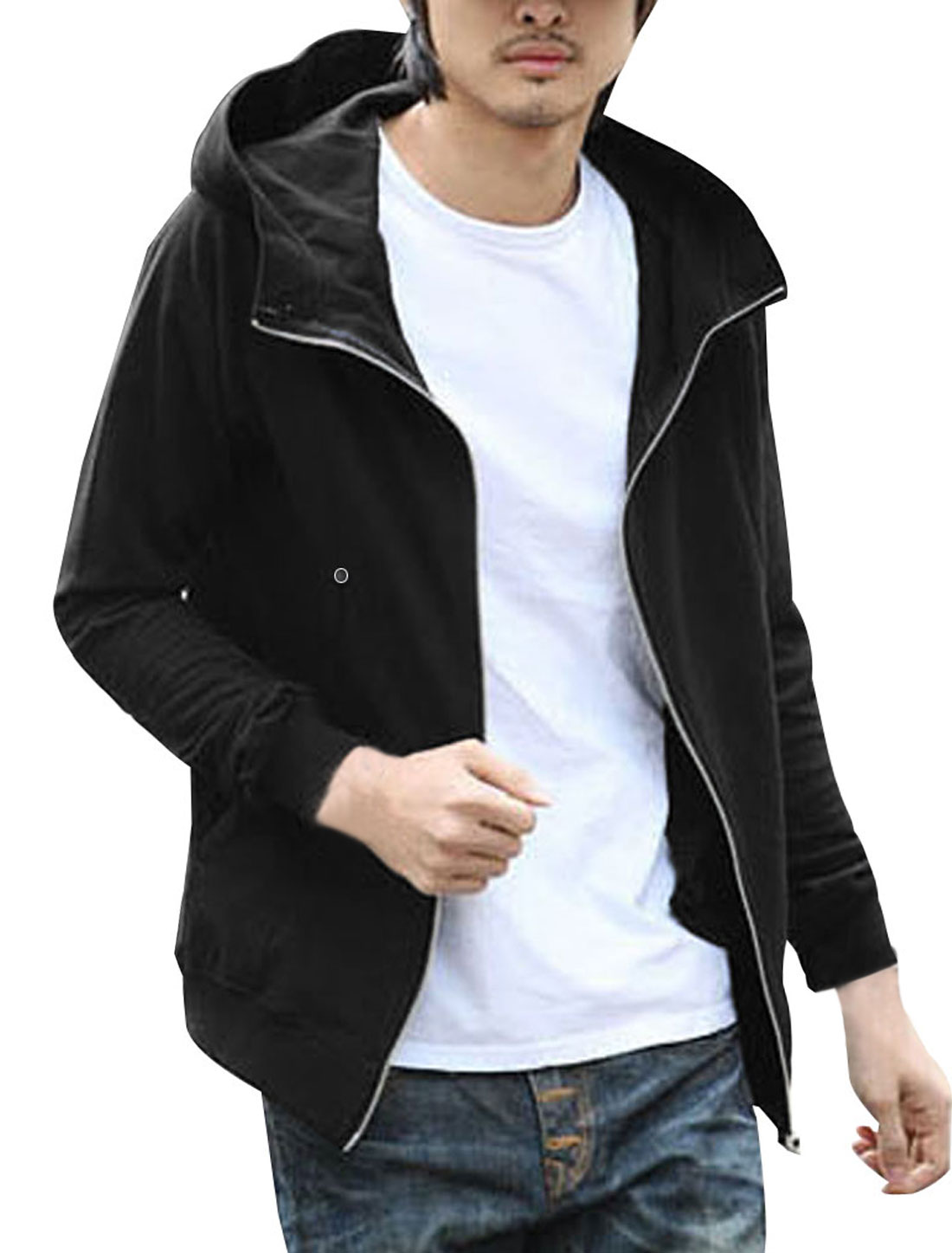 Men Black Convertible Collar Front Pockets Casual Hoodie Coat M