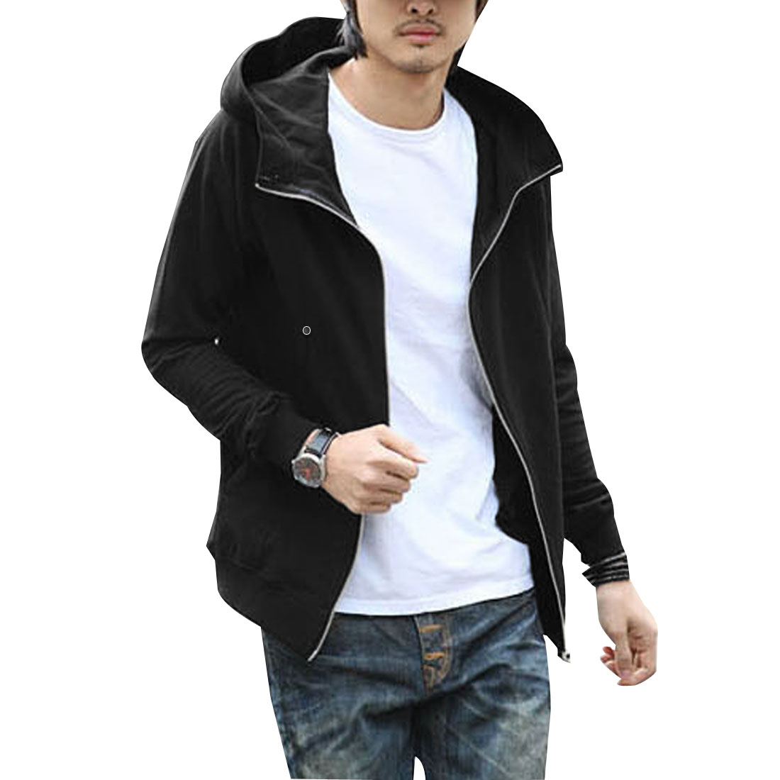 Mens Black Zipped Up Front Stretchy Cuff and Hem Hooded Coat M