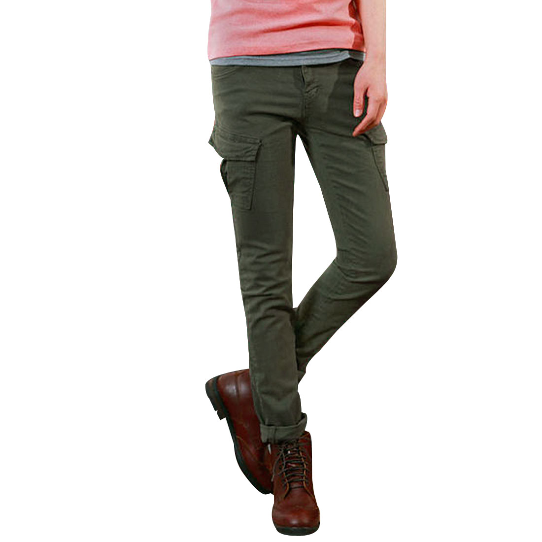 Mens Olive Green Buttoned Slim Straight Leisure Trousers W30