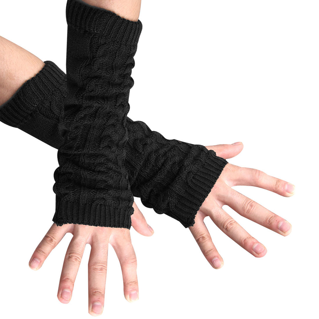 Unisex Black Thumb Hole Textured Stretchy Ribbing Knitted Gloves