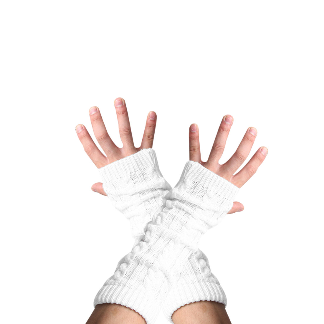Unisex White Pair Fingerless Knitted Winter Warmers Long Gloves