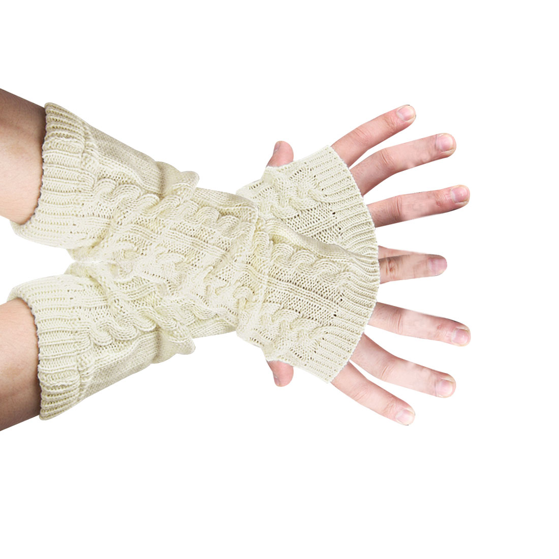 Unisex Light Khaki Winter Warmer Textured Design Ribbed Gloves