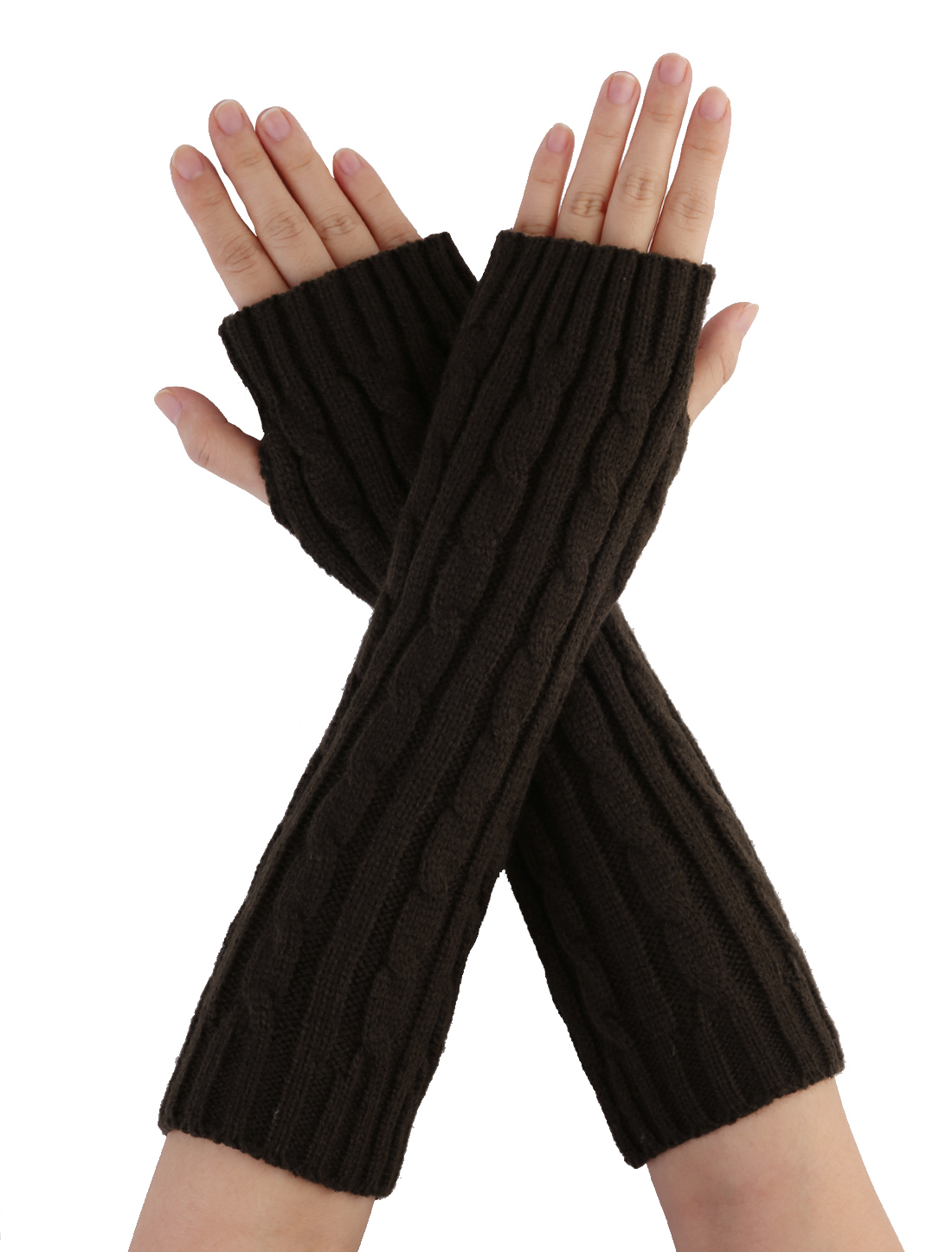 Unisex Coffee Color Textured Fingerless Style Arm Warmer Gloves
