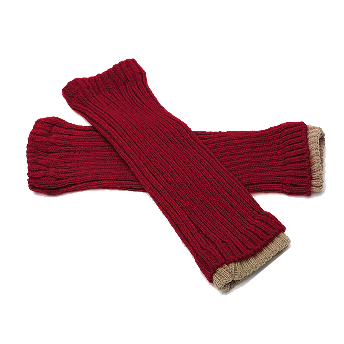 "Mens Red Ribbing Fingerless Stretch 13.4"" Long Winter Warmers Gloves"