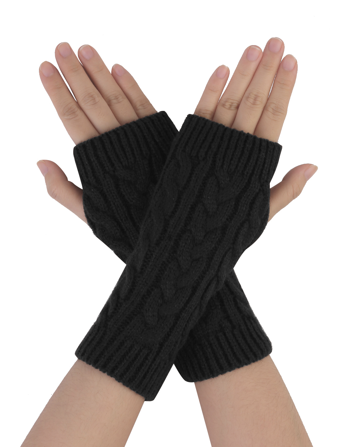 Unisex Black Stretchy Thumb Hole Detail Casual Warmer Knit Gloves