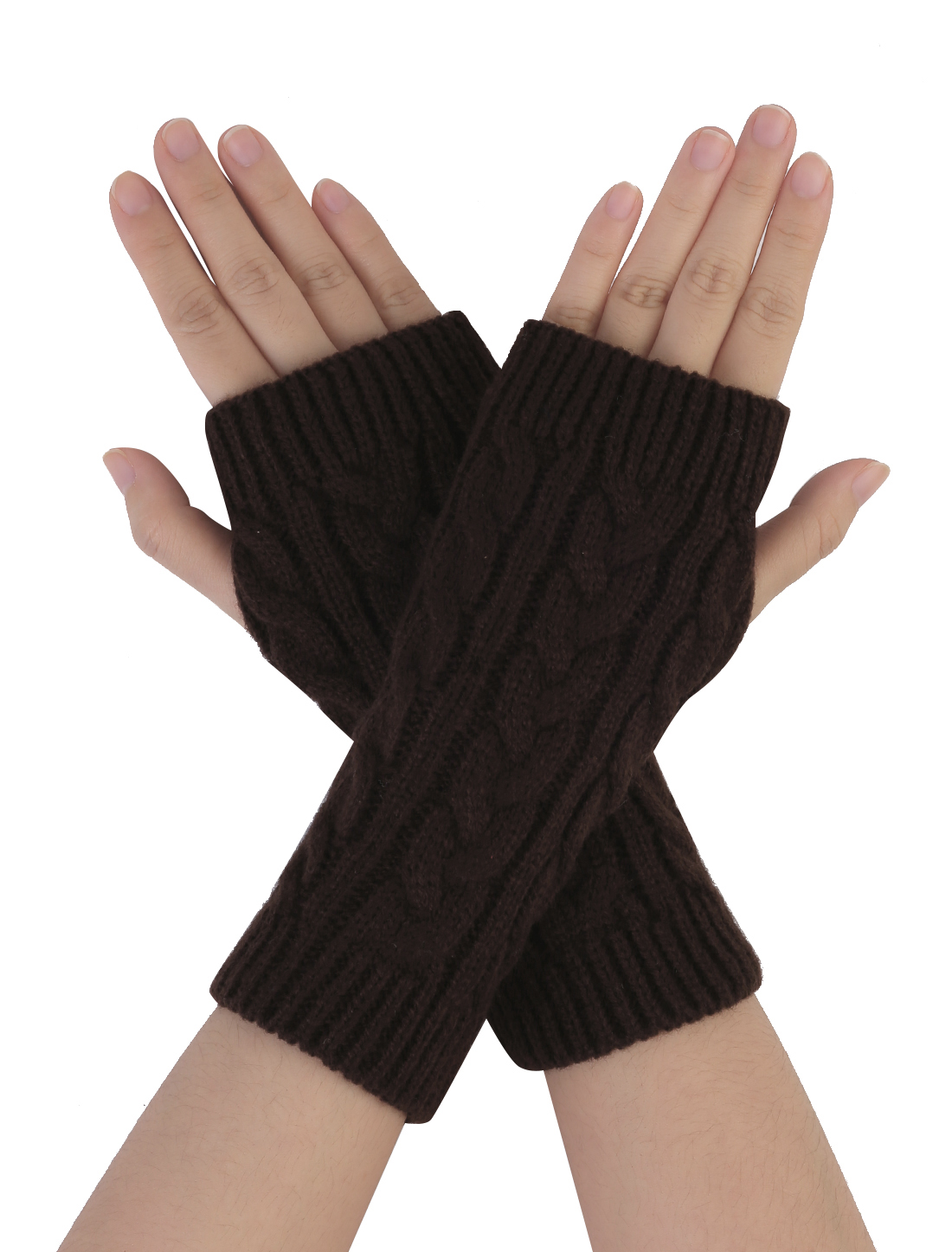 Unisex Dark Brown Knitted Fingerless Detail Cable Elastic Gloves