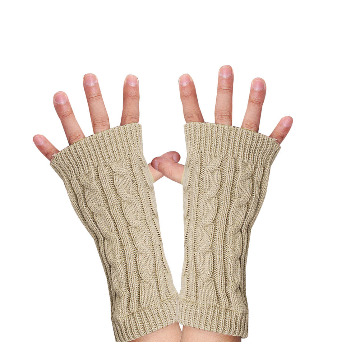 Unisex BeigeTextured Fingerless Ribbed Knitting Warm Gloves