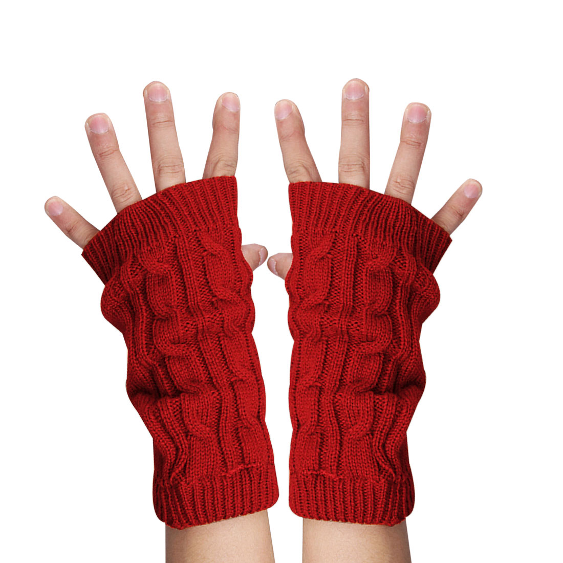 Unisex Red Winter Warmers Ribbing Knitted Thumb Hole Gloves