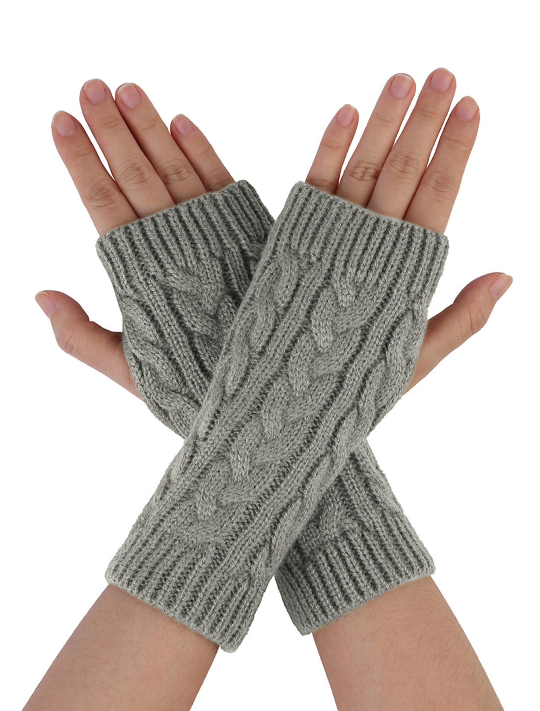 Unisex Light Gray Textured Design Warm Knitting Ribbed Winter Gloves