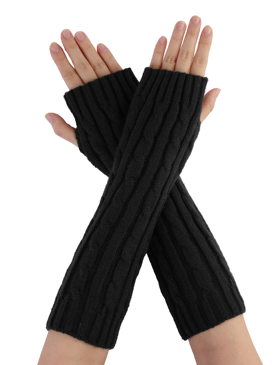 Mens Black Knitted Fingerless Textured Design Warmers Gloves