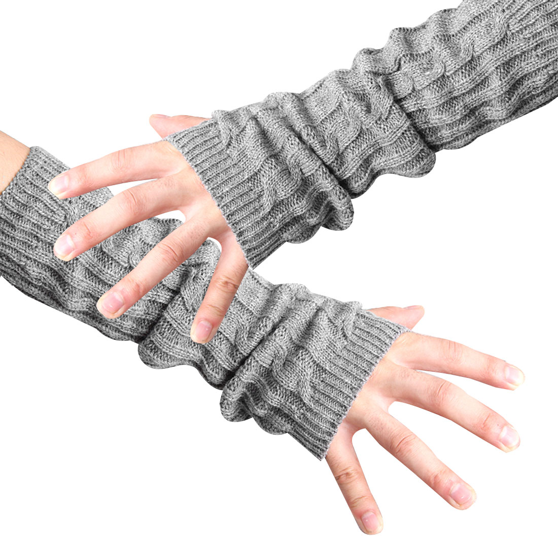 Unisex Light Gray Fingerless Design Thumb Hole Knitted Long Gloves