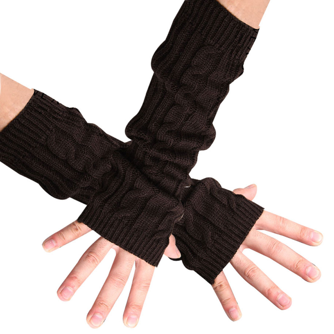 Men Coffee Color Ribbing Texture Design Stretch Winter Gloves