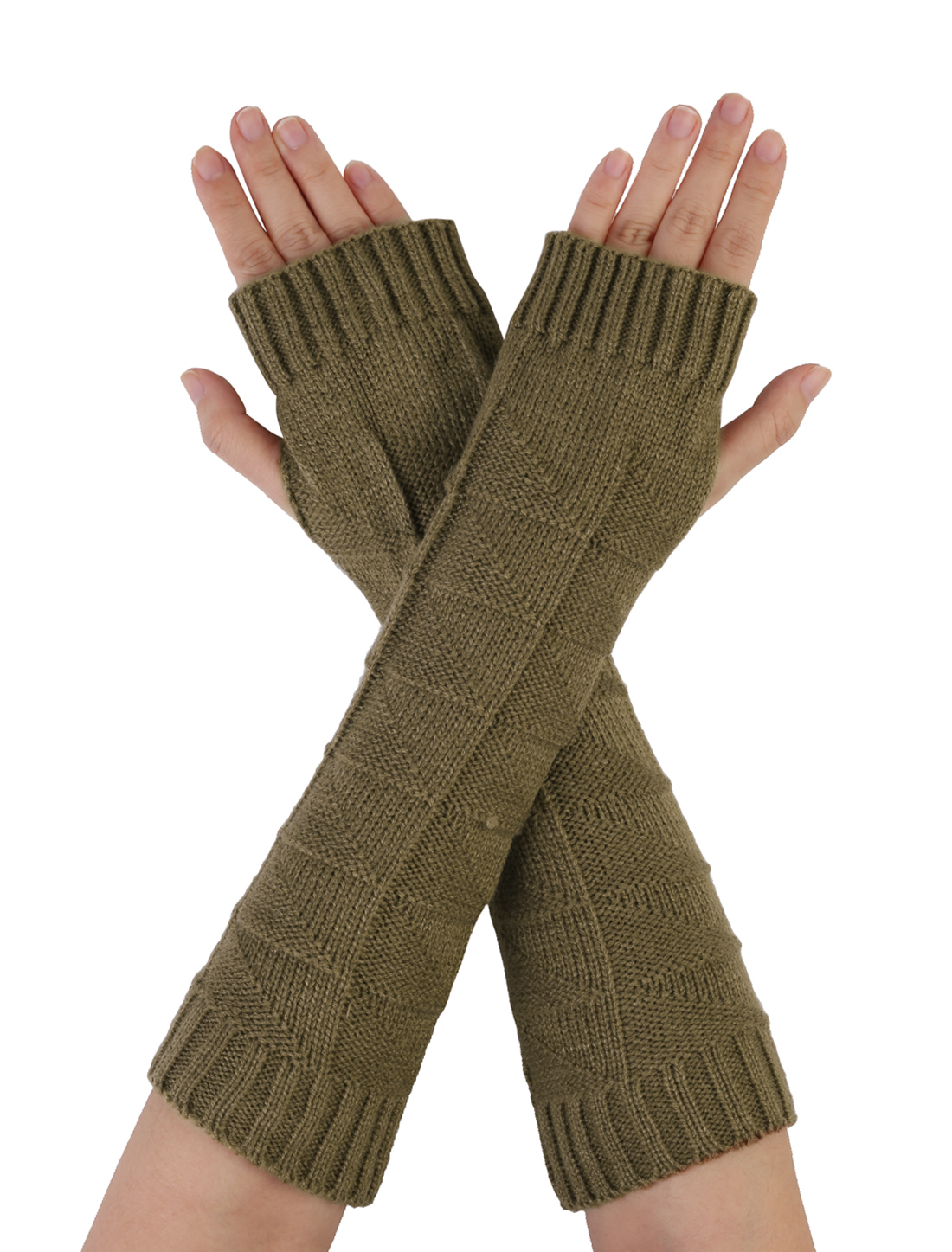 Men Light Khaki Thumb Hole Knitting Arm Warmers Winter Gloves
