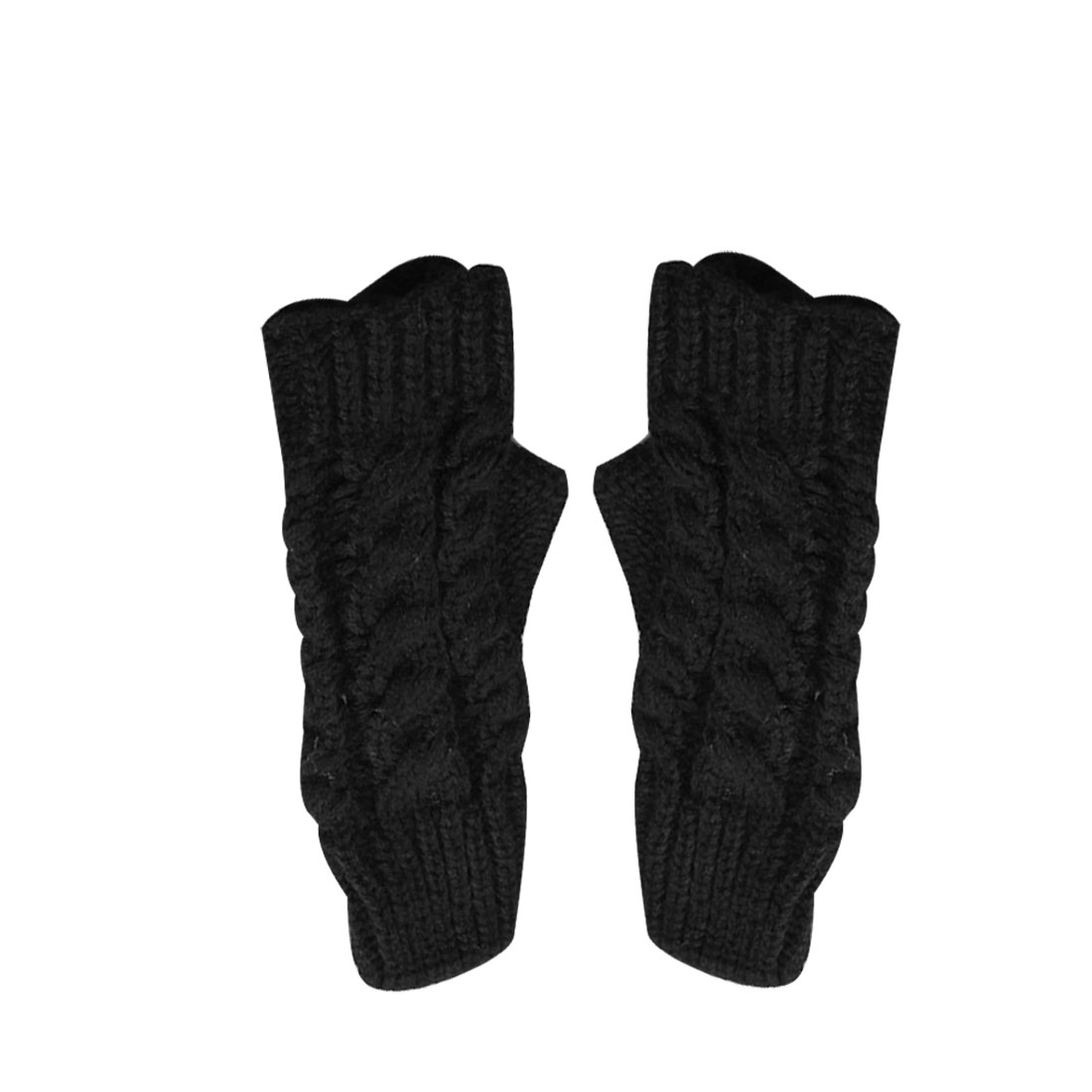 Mens Black Thumb Hole Cable Warmer Fingerless Solid Color Gloves