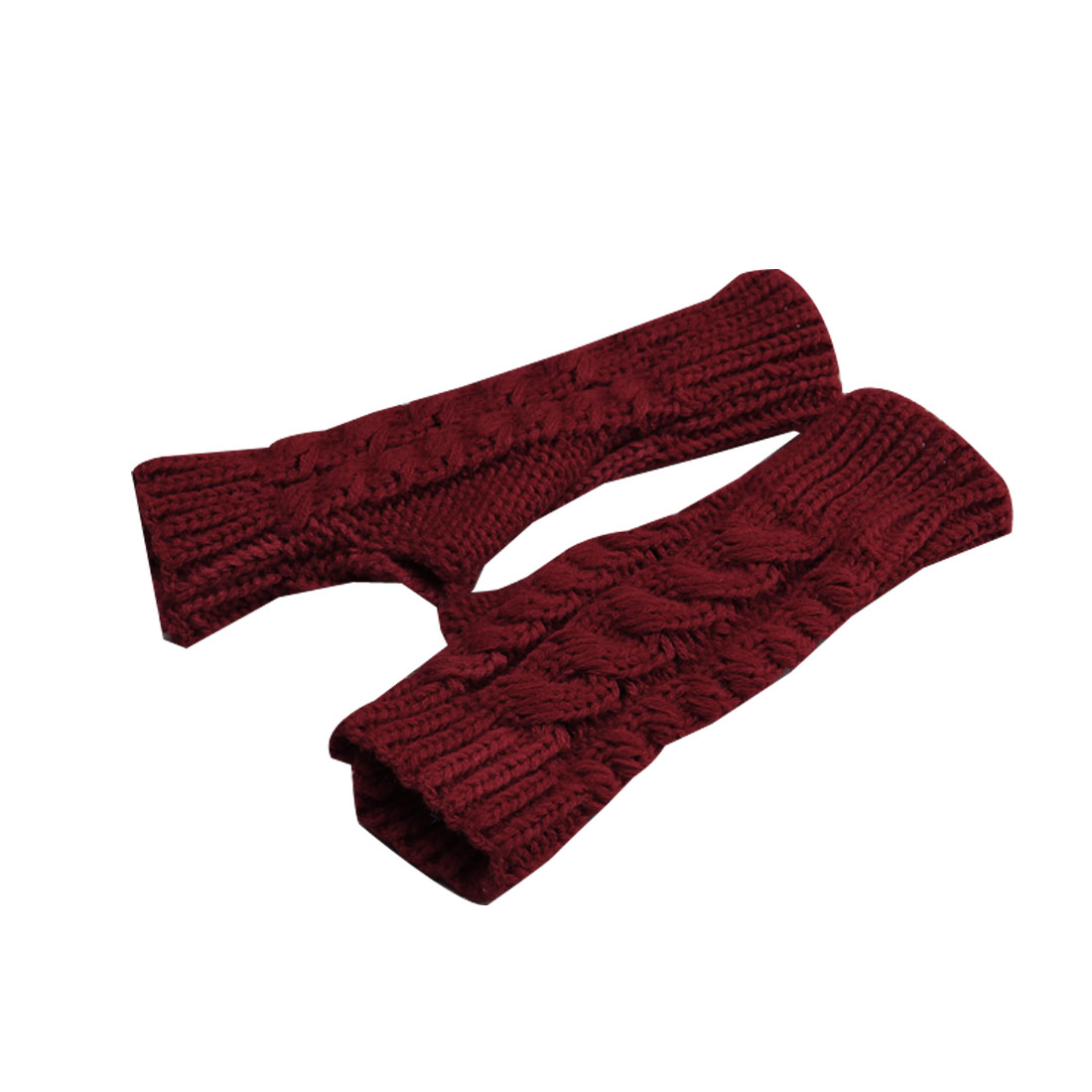 Mens Dark Red Textured Solid Color Elastic Fingerless Winter Warmers Gloves