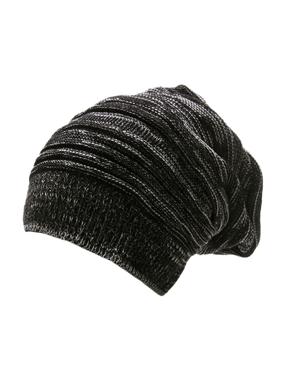 Men Black Off-White Textured Design Stretch Knit Cap Beanie Hat