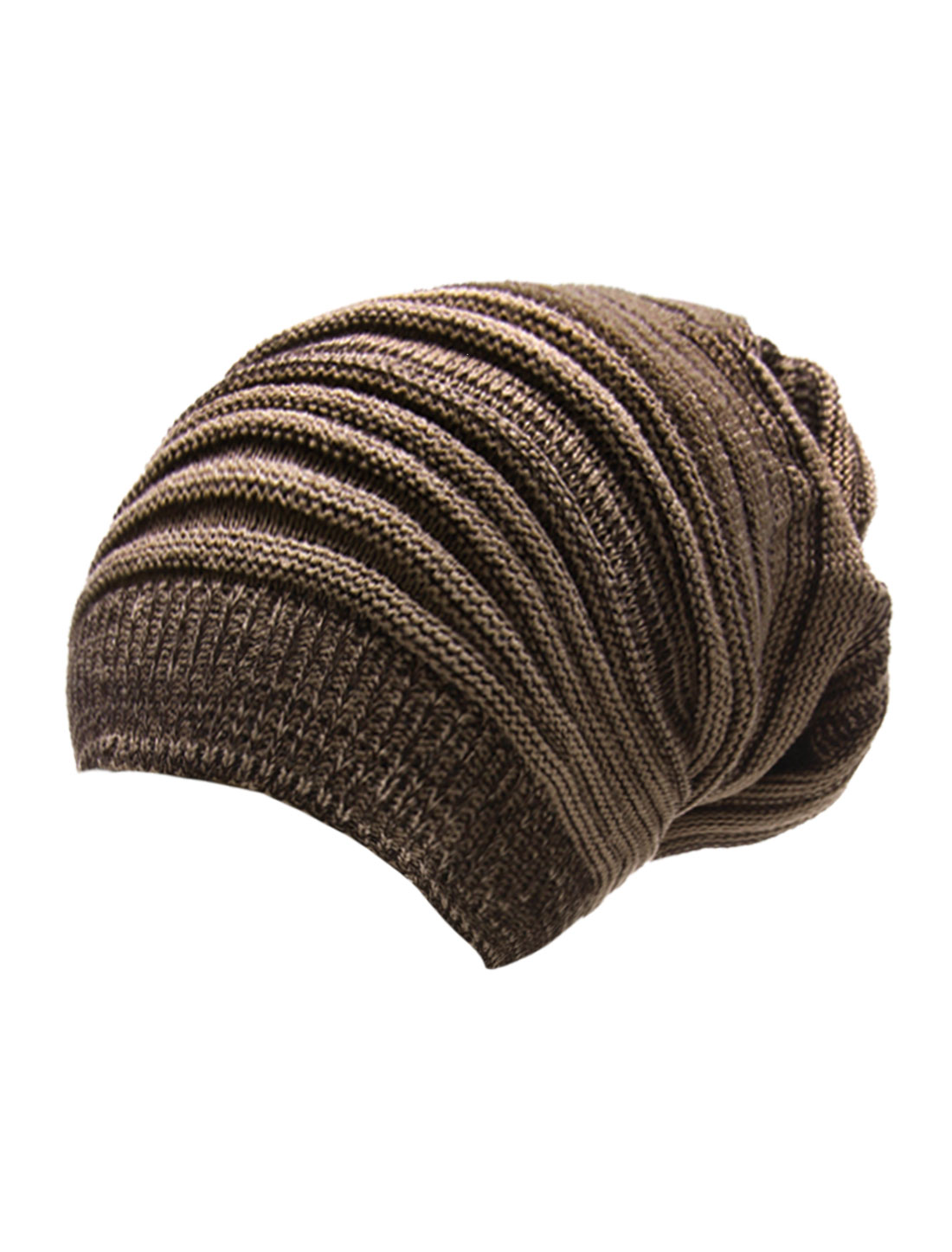 Men Coffee Dark Khaki Knit Thick Warmer Ribbing Cuff Beanie Hat