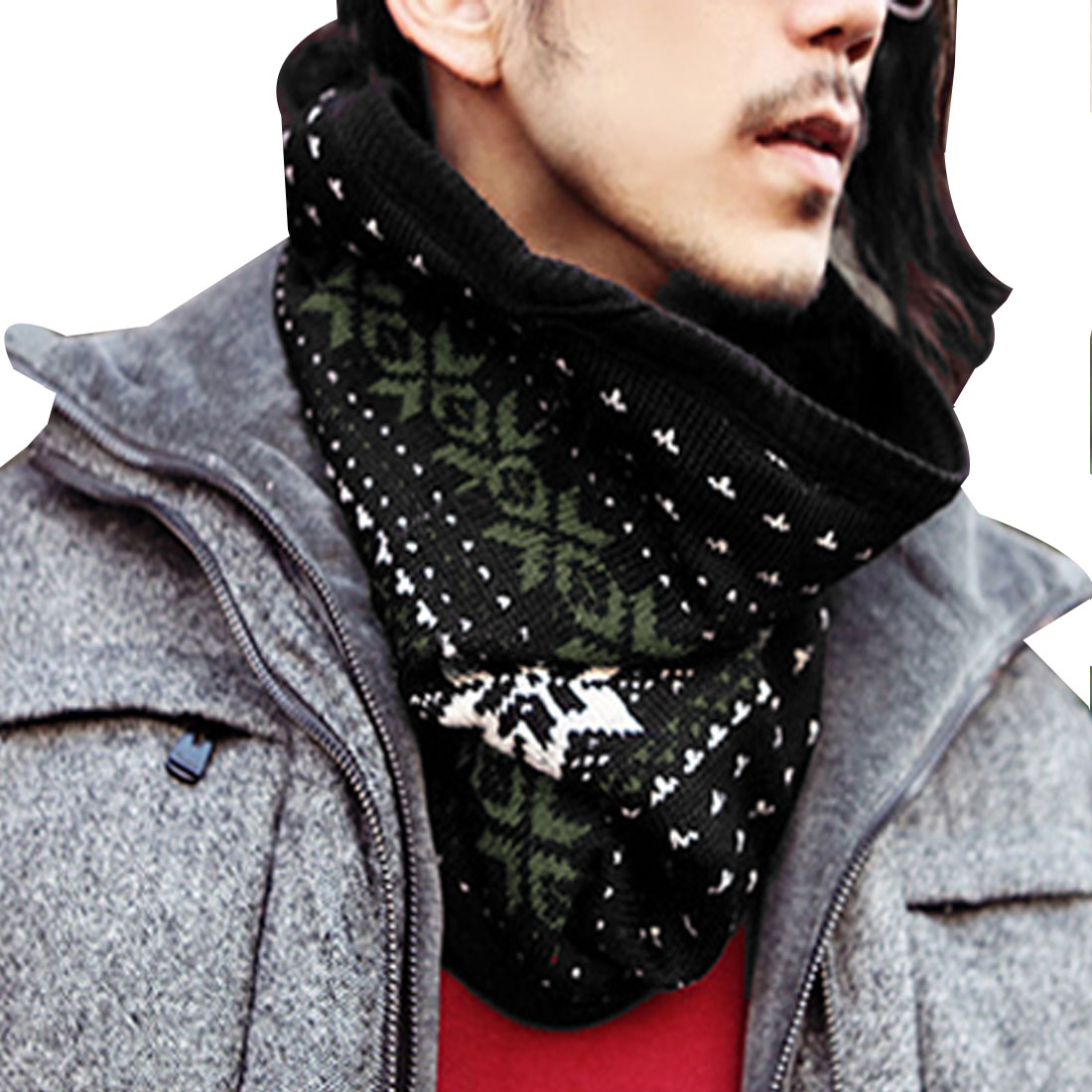 Men Olive Green White Black Stylish Stretchy Knitted Winter Tube Scarf