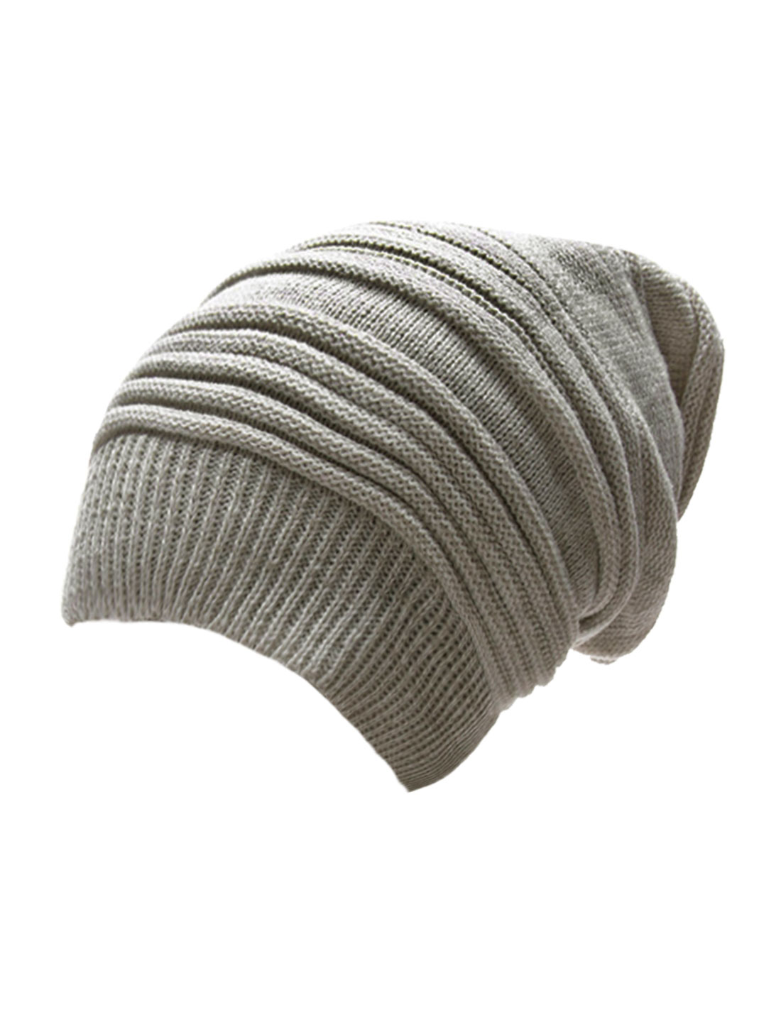 Mens Light Gray White Ribbed Cuff 2 Color Knitted Beanie Hat