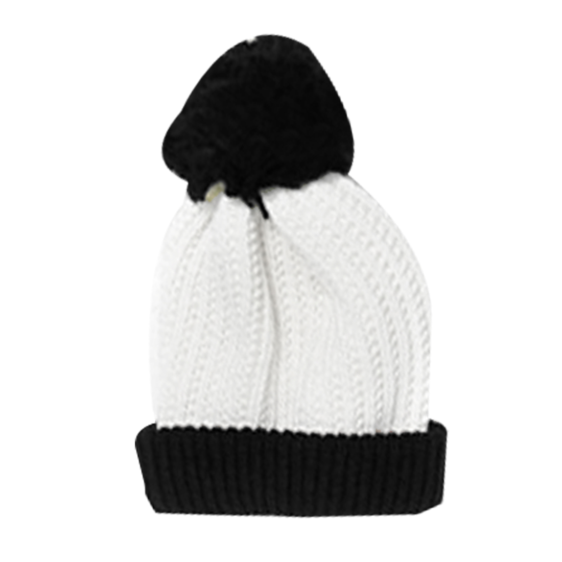 Mens Off White Black Pom Pom Top Stretchy Rolled Up Casual Winter Beanie Cap