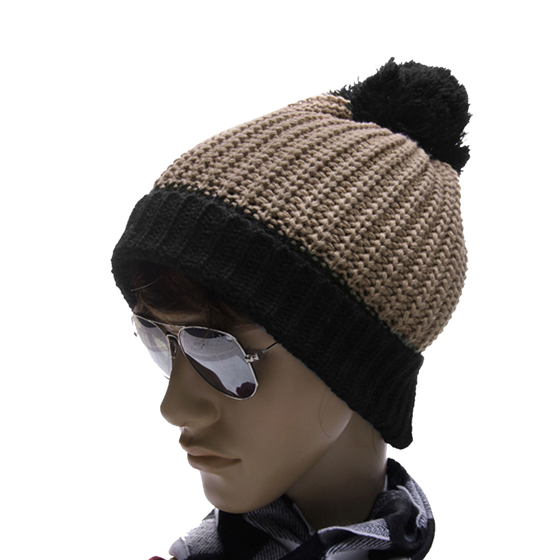 Men Khaki Black Textured Warmer Rolled Up Trim Knitting Beanie Hat Cap