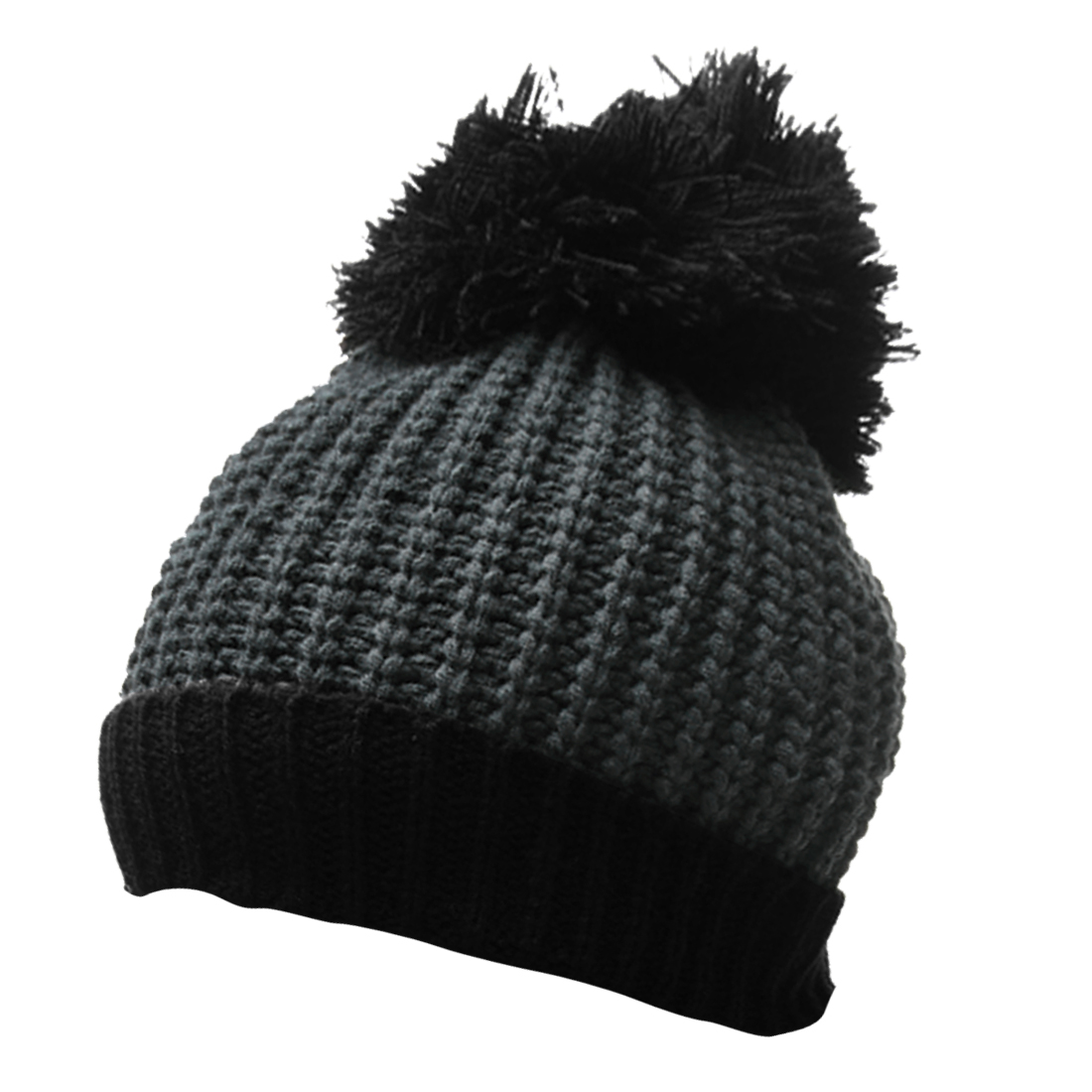 Mens Dark Gray Black Textured Pom-pom Top Stretchy Winter Beanie Hat