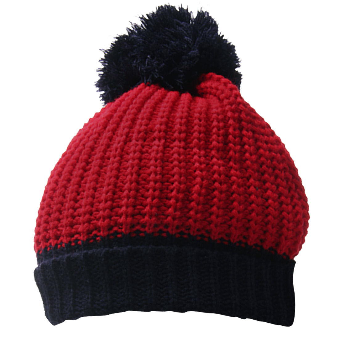 Men Red Dark Blue Rolled Up Color Block Stretch Winter Casual Beanie Cap