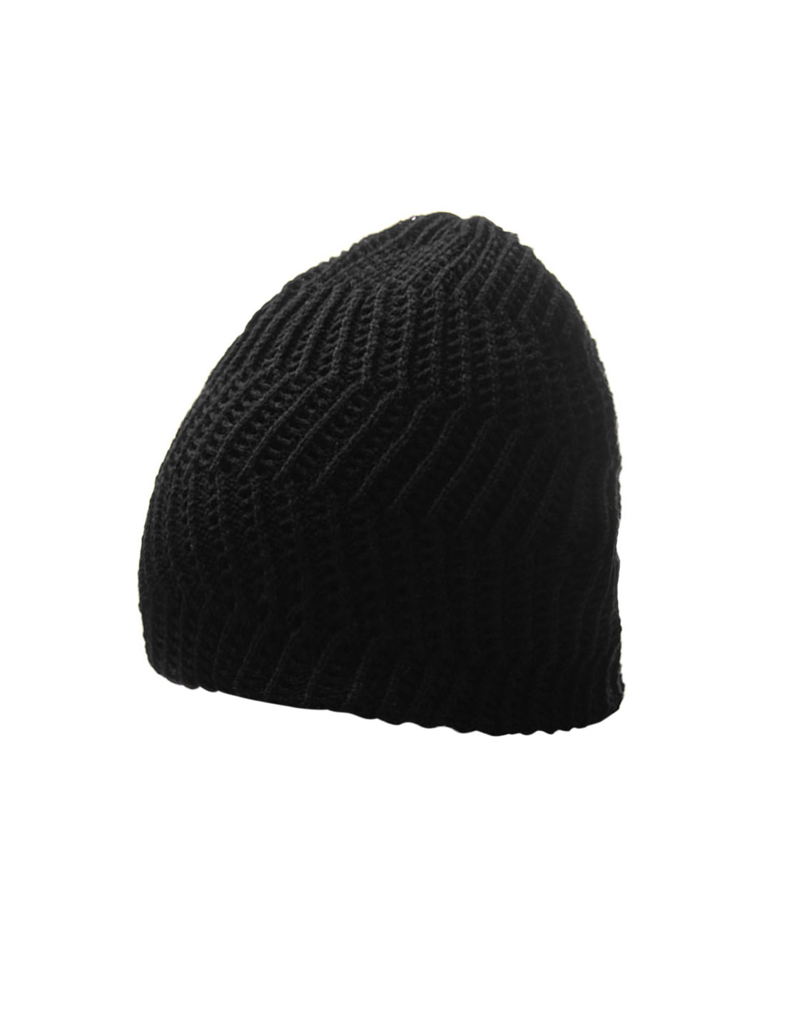 Men Black NEW Textured Solid Color Stretch Beanie Hat