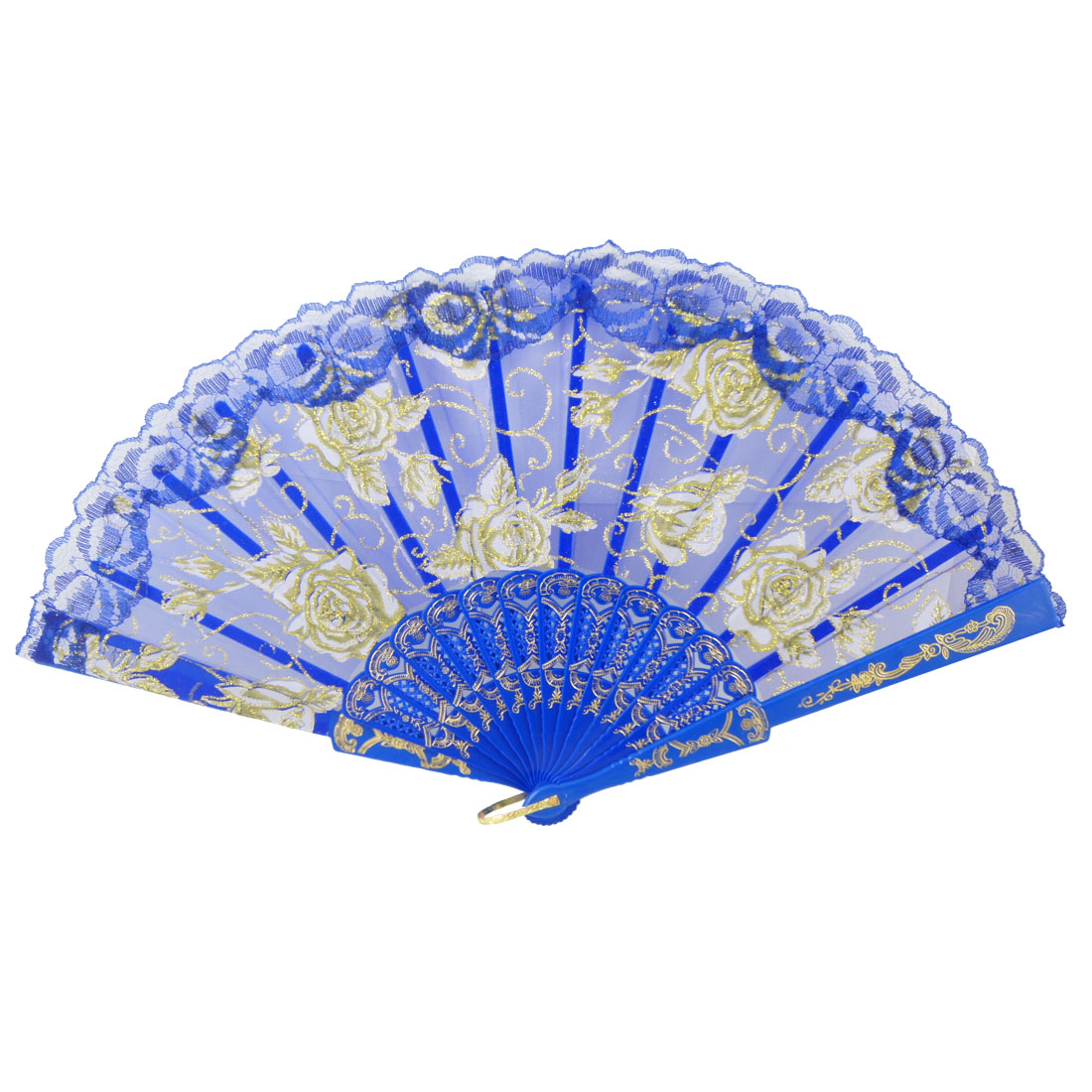 Blue Plastic Ribs Glittery Flower Print Foldable Dancing Hand Fan for Lady