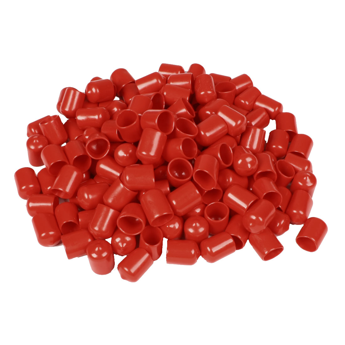 210 Pcs 25mm High 16mm Inner Dia Round Tip Red PVC Insulated End Caps