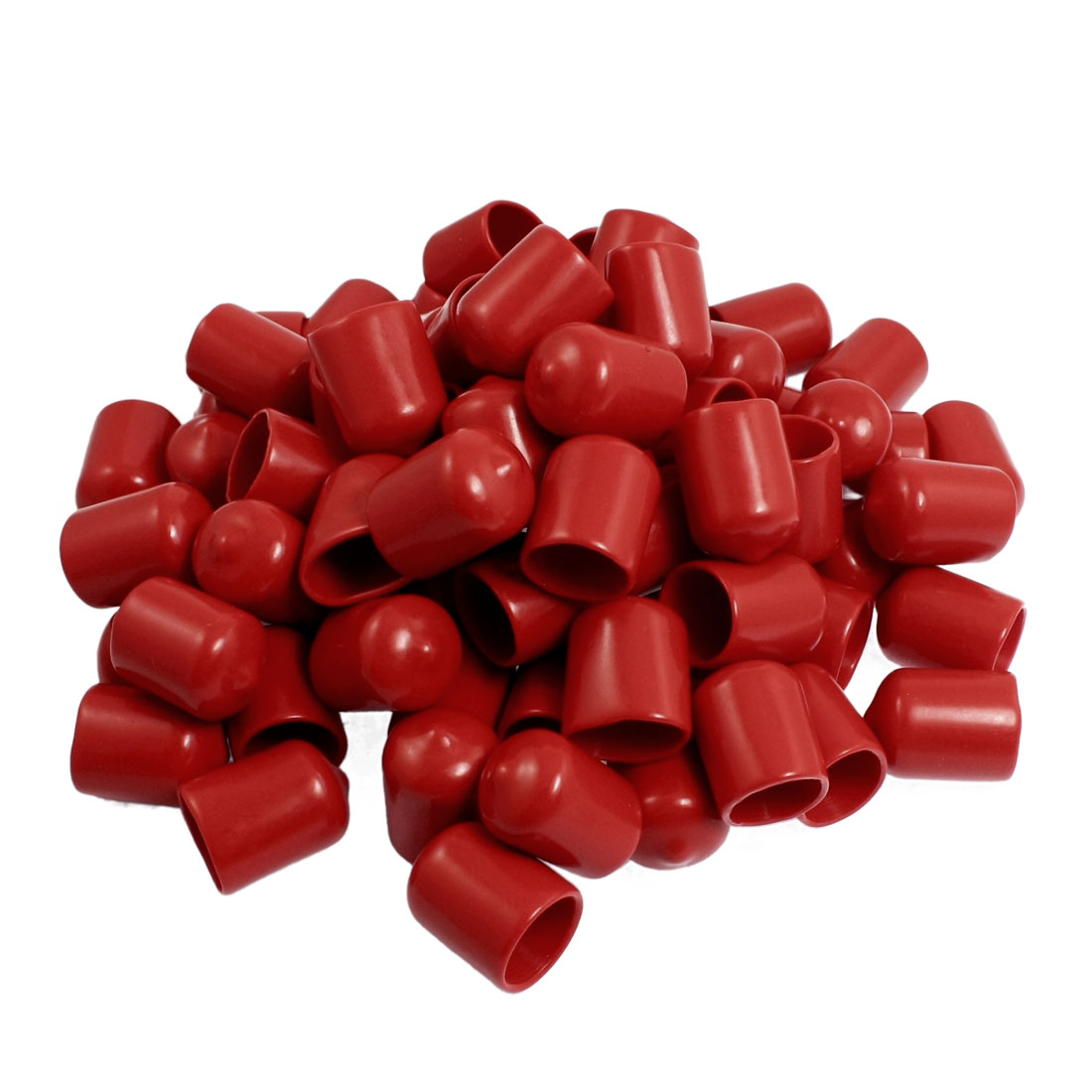 80 Pcs 25mm High 16mm Inner Dia Round Tip Red PVC Insulated End Caps