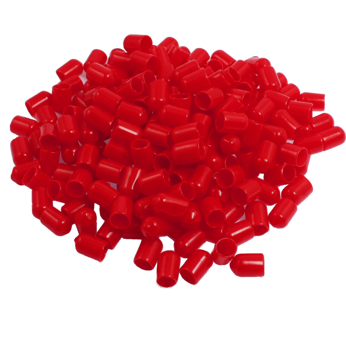 200 Pcs 14mm Height 8mm Inner Dia Round Tip Red PVC Insulated End Caps