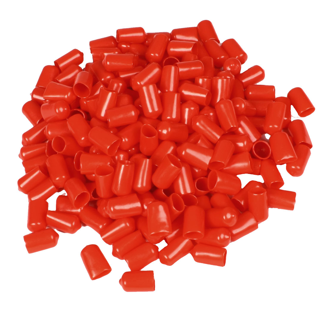 200 Pcs 22mm Height 12mm Inner Dia Round Tip Red PVC Insulated End Caps