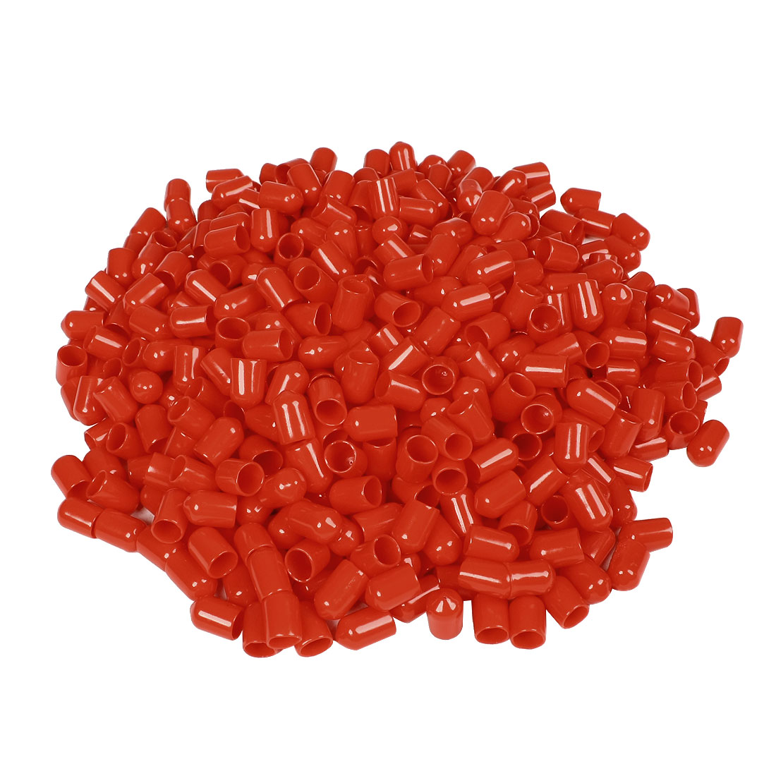 700 Pcs 14mm Height 8mm Inner Dia Round Tip Red PVC Insulated End Caps