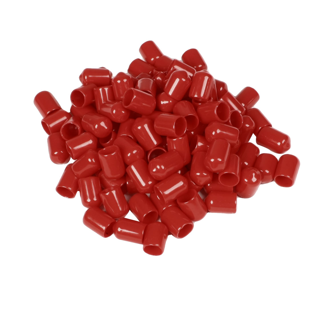 100 Pcs 17mm Height 10mm Inner Dia Round Tip Red PVC Insulated End Caps