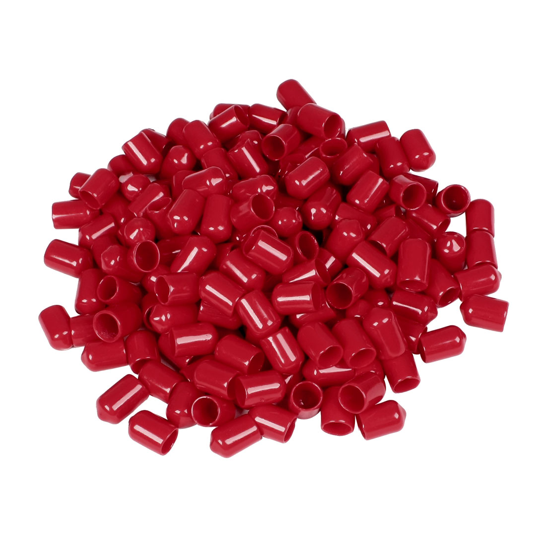 200 Pcs 17mm Height 10mm Inner Dia Round Tip Red PVC Insulated End Caps